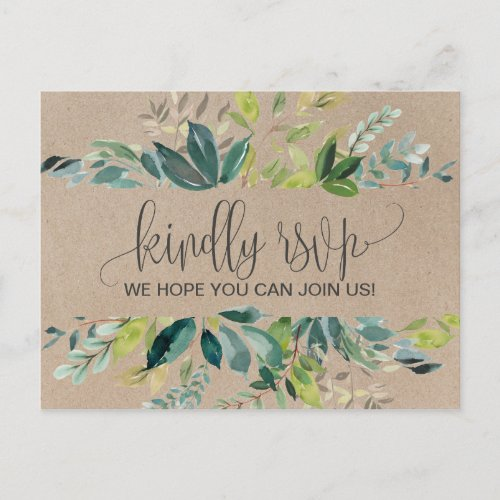 Kraft Foliage Song Request RSVP Postcard