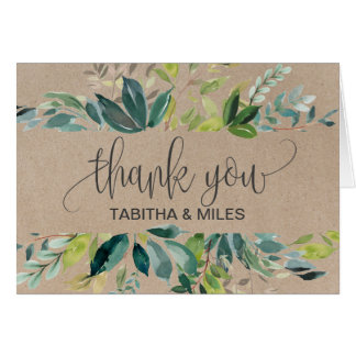 Kraft Foliage Thank You Card