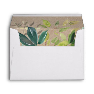 Kraft Foliage Wedding Invitation Envelope