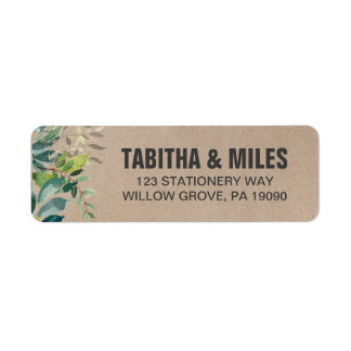 Kraft Foliage Wedding Label