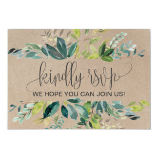 Kraft Foliage Wedding Website RSVP Card