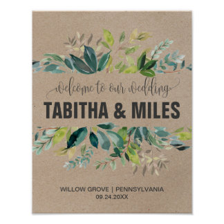 Kraft Foliage Wedding Welcome Poster
