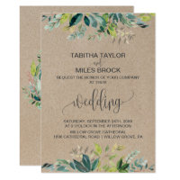 Kraft Foliage with Monogram Wreath Backing Wedding Card