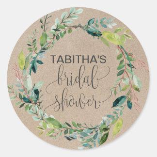 Kraft Foliage Wreath Bridal Shower Classic Round Sticker