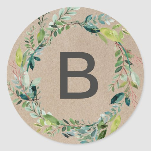Kraft Foliage Wreath Monogram Envelope Seals