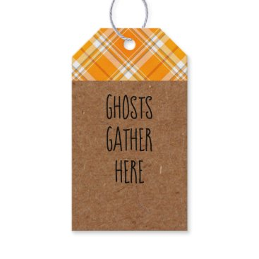Halloween Themed Kraft Ghosts Gather Here Halloween Party Gift Tags