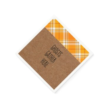 Halloween Themed Kraft Ghosts Gather Here Halloween Party Napkins