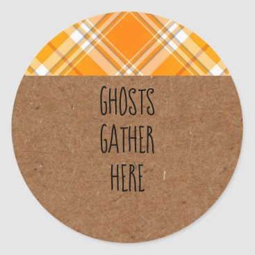 Halloween Themed Kraft Ghosts Gather Here Halloween Party Stickers