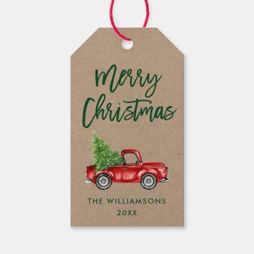 Kraft Green Brush Script Christmas Vintage Truck Gift Tags