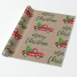 "Kraft Green Brush Script Christmas Vintage Truck Wrapping Paper<br><div class=""desc"">Kraft Brush Script Watercolor Vintage Red Truck with Christmas Tree - Wrapping Paper</div>"