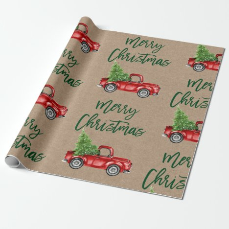 Kraft Green Brush Script Christmas Vintage Truck Wrapping Paper