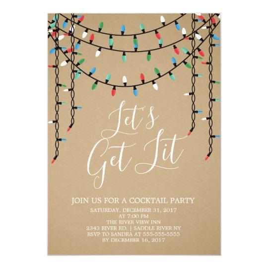 kraft holiday let s get lit party invitation zazzle com