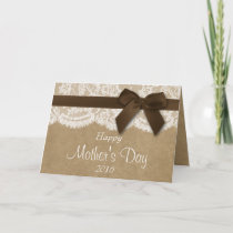 Kraft, Lace & Brown Bow Happy Mother's Day Card