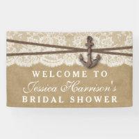 Kraft, Lace & Nautical Anchor Beach Bridal Shower Banner