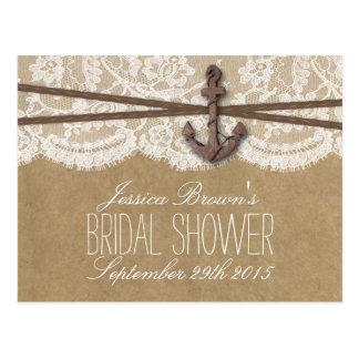 Kraft, Lace & Nautical Anchor Bridal Shower Recipe Postcard