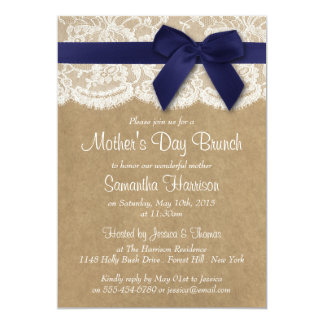 Kraft, Lace & Navy Bow Mother's Day Brunch Card