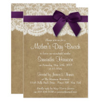 Kraft, Lace & Purple Bow Mother's Day Brunch Invitation