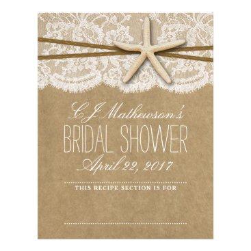 Beach Themed Kraft, Lace & Starfish Beach Bridal Shower Divider Letterhead