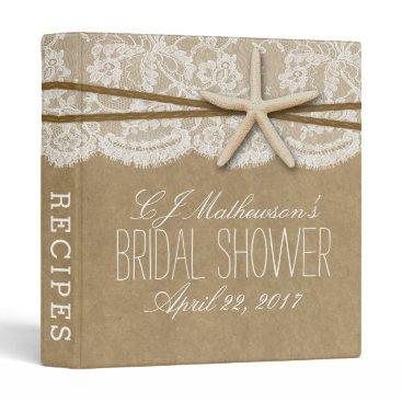 Beach Themed Kraft, Lace & Starfish Beach Bridal Shower Recipe Binder