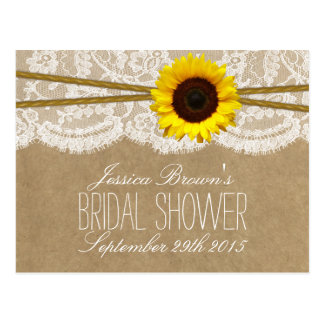Kraft, Lace & Sunflower Bridal Shower Recipe Cards