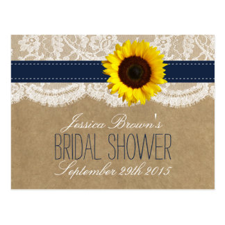 Kraft, Lace & Sunflower Bridal Shower Recipe Cards