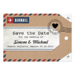 Kraft Paper Airmail Luggage Tag Save the Dates Announcements