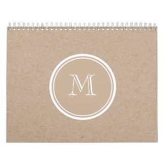 Kraft Paper Background Monogram Calendar