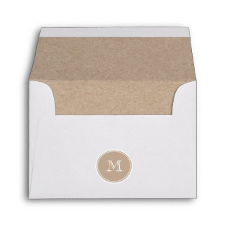 Kraft Paper Background Monogram Envelope