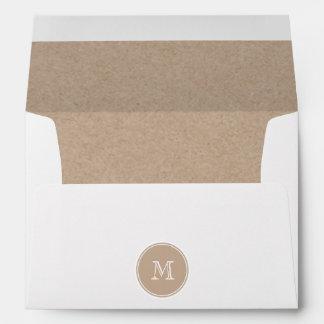 Kraft Paper Background Monogram Envelope