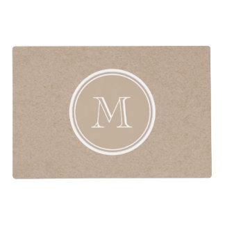 Kraft Paper Background Monogram Laminated Place Mat