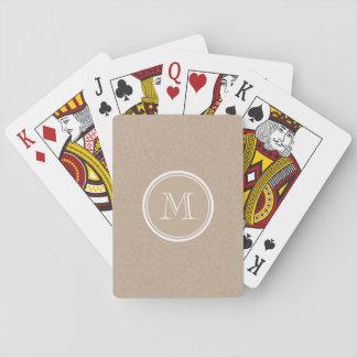 Kraft Paper Background Monogram Playing Cards