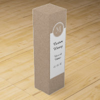 Kraft Paper Background Monogram Wine Gift Box