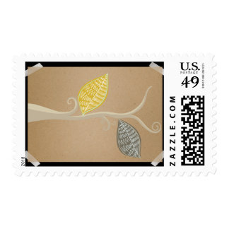 Kraft Paper Branch With Leaves Postage