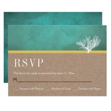 Beach Themed Kraft paper coral reef teal beach wedding RSVP Card