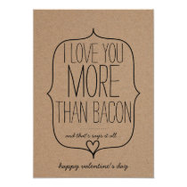 Kraft Paper Cute Heart Funny Bacon Valentines Day Card
