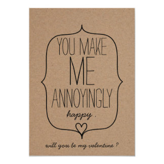 Kraft Paper Cute Heart Funny Valentines Day Card