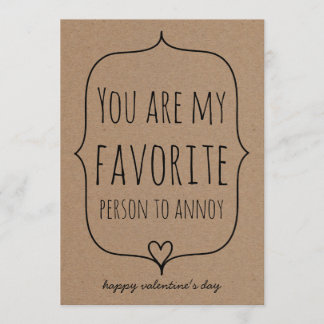Kraft Paper Cute Heart Funny Valentines Day Holiday Card