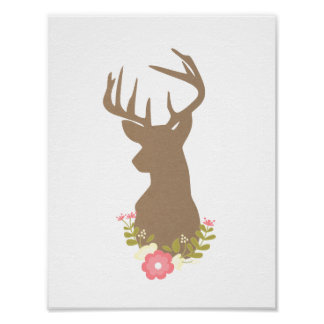 Kraft Paper Deer with Flowers Poster