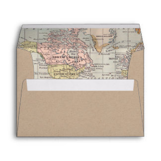 Kraft Paper Envelope Worldmap inside