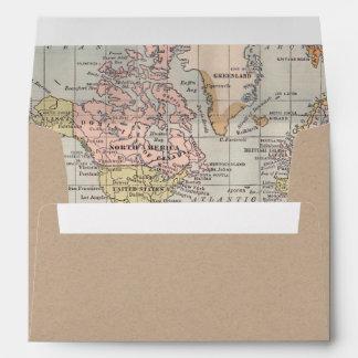 Kraft Paper Envelope Worldmap inside