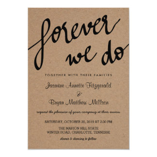 Kraft Paper Forever We Do Script Rustic Wedding Card