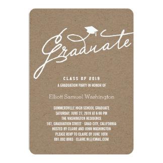 Kraft Paper Graduate Graduation Party Invite