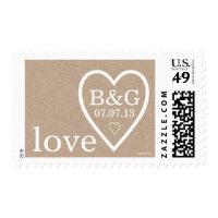 Kraft Paper Heart Initials   Wedding Postage