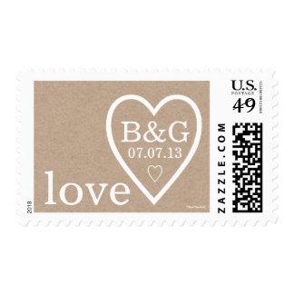 Kraft Paper Heart Initials | Wedding Postage