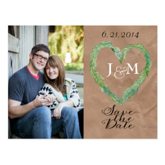Kraft Paper Heart Wreath Save the Date Postcard