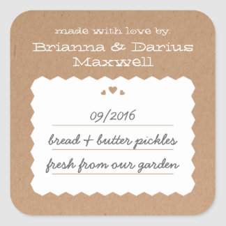 Kraft Paper Hearts Food Gift Label Square Sticker