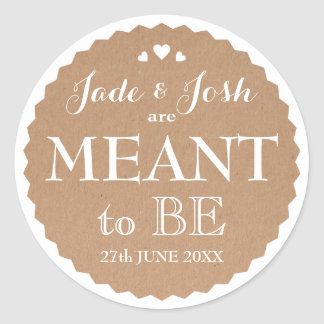 Kraft Paper Hearts Wedding Meant to Be Favor Classic Round Sticker