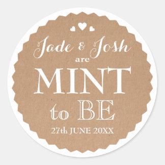 Kraft Paper Hearts Wedding Mint Favor Round Classic Round Sticker