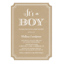... Kraft Paper Itu0027s A Boy Baby Shower Invitation