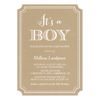 Kraft Paper It's a Boy Baby Shower Invitation